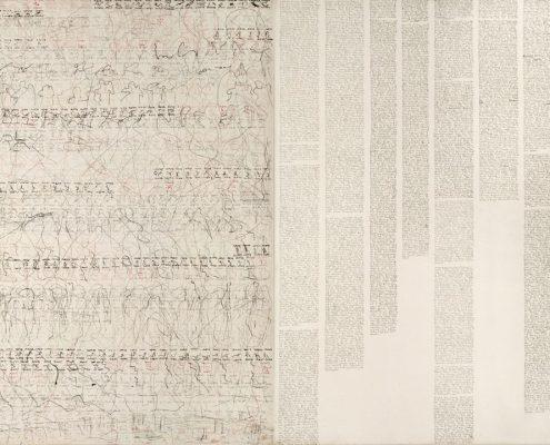 Marlies_Beth, Aus der Serie Tagebücher , Diptych., Mischtech./Leinw., 70x100 cm