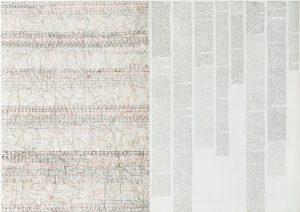 Marlies Beth, Aus der Serie Tagebücher , Diptych., Mischtech./Leinw., 70x100 cm