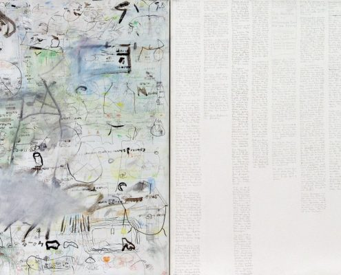 Marlies Beth, Aus der Serie Tagebücher , Diptych., Mischtechnik/Leinw., 70x100 cm