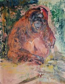 Oskar v.H. Orang Utan Aquarell auf Acryl 30x40cm