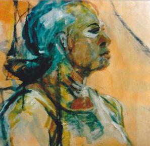 Porträt Helena Aquarell auf Acryl 45x45cm