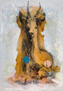 Lichtung (gross) 2021 Acryl, Kohle, Schellack auf Leinwand 170 x 120 cm