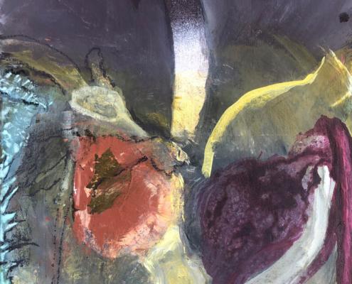 Fallobst im Oktober 2020 Pigment, Acryl auf Pappe 42 x 30cm